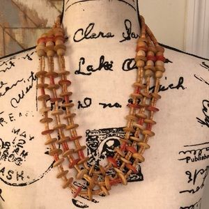 Anthro layered wooden necklace